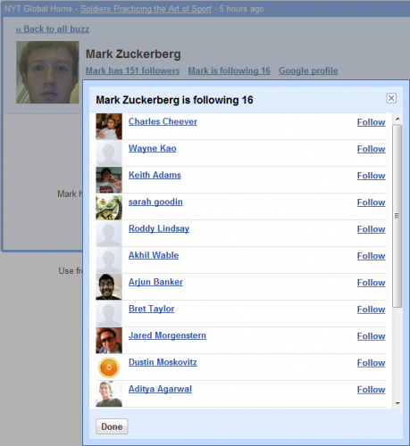 Mark Zuckerberg's Google Buzz contacts