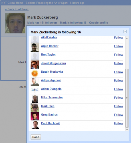 Mark Zuckerberg's Friends on Google Buzz