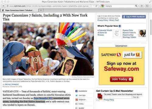 Pope Canonizes Kateri Tekakwitha and Marianne Cope - NYTimes.com 10/21/12 10/07 AM